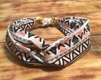 Aztec Print Corduroy Turban Headband