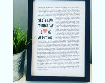 65th Birthday Print, 70th Birthday, 21st Birthday, Milestone Birthday, Milestone Anniversary, Things We Love print, Special Occasion Print