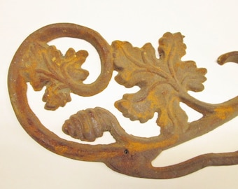 Cast Iron Leaf and Scroll Adornment Architectural Salvage 26 Inches Long