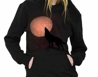 Wolf Hoodie, Ladies, howling, full moon , lone wolf, sweater, Christmas, womens, pagan, Hooded jumper, gift for her,  black and orange.