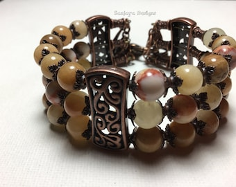 Marble and copper multi tiered bracelet.