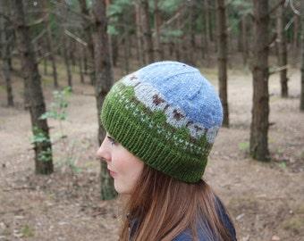 Winter Skull Cap, Sheep Cap, Winter Hat with Sheeps, OOAK Skull Cap
