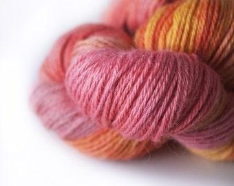 "Hand Dyed Yarn Baby Alpaca and Silk . DK . ""Candy Corn"" . 300 yards . 100 g . Super Soft . Pink . Orange"