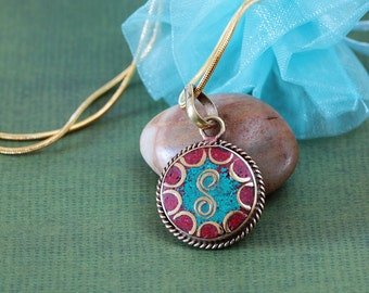 Small simple turquoise and coral Tibetan Buddhist pendant with chain