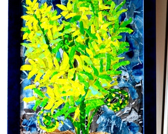 Collage Painting- Collage Art Framed - Fern - Torn Paper Original - Blue Green Art- Painted Paper Collage - Woodland Painting -