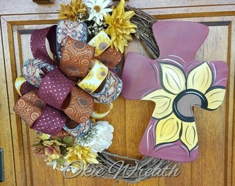 Yellow, orange, maroon, Fall sunflower vine wreath