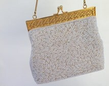 Vintage Beaded Evening Bag In Ivory Pearl, Bridal Purse, Clutch, Bridal Evening Bag