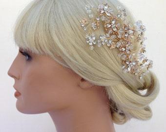 Crystal Bridal Hair Comb, Wedding Hair Comb, Gold Hair Comb, Swarovski Crystal, Bridal Headpiece,