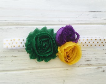 Flower headband, baby headband, adult flower headband, adult headband, mardi gras headband