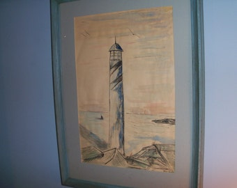 Very Old Lighthouse Drawing Framed Large Shore Beach