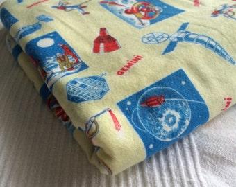 Space!  Flannel vintage fabric - Gemini mission, 1 yd