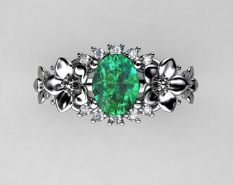 Nature Inspired 14K White Gold 1.25 Ct Oval Emerald Diamond Leaf Vine Floral Engagement Ring R511-14KWGDEM