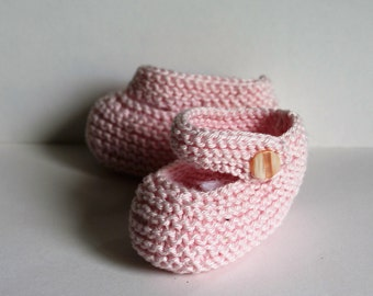 Hand Knitted Cotton Baby Booties 3-6 months, Pale Pink( Mary Jane)