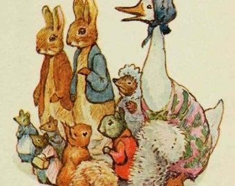 Vintage Peter Rabbit and Friends 8x8 Craft Fabric Block - Great for Embroidery, Pillows & Wall Art - Buy 2, Get 1 FREE