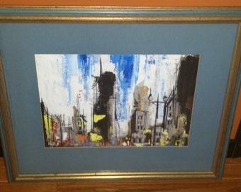 Signed Friedman City Scene Oil Painting