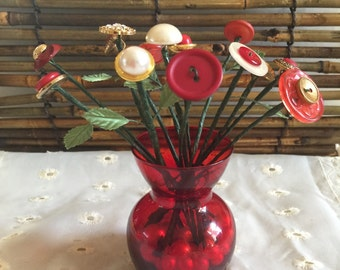 Bouquet of Vintage Buttons - 14 stems - Red, Gold, Pearl in Red Glass Vase - Mother's Day