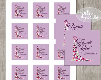 Bridal Shower Favor Tags Purple, Wedding Thank You Tags, Floral Dress ThankYou Stickers, DIY Personalized Cards or Labels - LFT