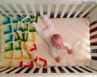 crochet baby blanket - granny square blanket - orange yellow green blue - rainbow baby blanket - handmade by RockinLola
