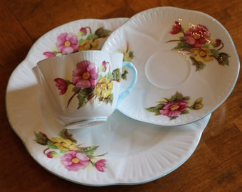 """Shelley English Bone China """"Begonia"""" Pink and Yellow Floral Pattern Teacup, Saucer and Salad Plate Trio for Shower, Tea Party, Luncheon"""