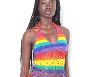 rainbow halter top with shorts ,available in any color and sizes
