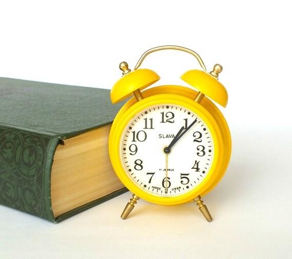 Cute Yellow Alarm Clock 11 Jewels. Soviet Vintage Alarm Clock SLAVA NOS. Mint Condition Alarm Clock Home Decor. Gift For Him. Wedding Gift.