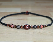 Black Hemp Choker Necklace Coral Pink Glass Silver Metal Beads - Womens Necklace for Her - Teen Girl Necklace - Gifts for Girlfriend Jewelry