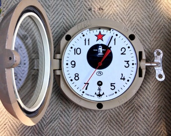 Soviet clock - Working - Ship Clock ,Vintage Clock, NAVY Clock, Mechanical clock
