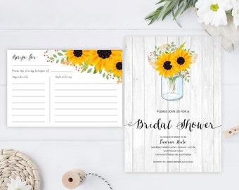 Rustic wedding shower Invitation with recipe card printed on premium cardstock | Mason jar bridal shower invitations cheap