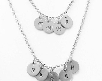 Stainless Steel Personalised Name Initial Small Disc Stamped Necklace