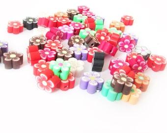 Flower Beads, Polymer Clay Beads, Polymer Flower Beads, Destash Flower Beads, Assorted Polymer Beads
