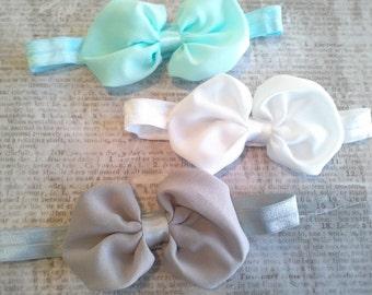 set 3 headbands, baby headbands, newborn headbands, baptism headband, bow headbands,aqua headbands,bow headbands, chiffon bow  headbands