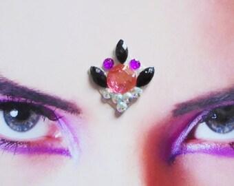 Feeora Fatale tribal fusion belly dance - large black, pink, purple and white lotus bindi with rhinestones - hindu woman jewerly