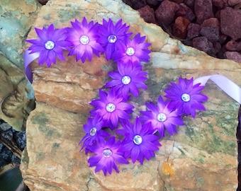 Rhinestone purple daisy flower halo