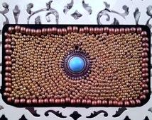 Bronze Birth Control Case - Birth Control - Pill Case - Pill Holder - Beaded Case - Bronze Case - Turquoise Case - Charm Case