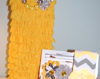 Yellow and Gray Lace Romper Set with Legwarmers, Necklace and Headband