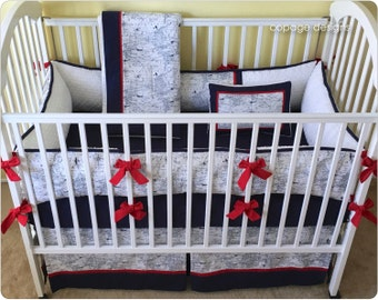 Navy AIR TRAFFIC Baby Crib Bedding Set - Includes Bumper Pad, Crib Skirt, Blanket & Accent Pillow - Boy Baby Bedding Set - Made-to-Order