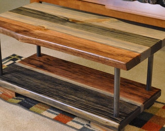 Double layer coffee table, Ebony, Grey, and Red