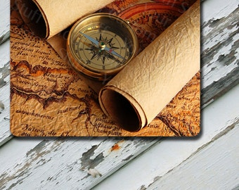 Mousepad Vintage World Map With Scrolls Design on Mousepad