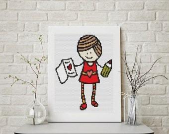 Mini Cross Stitch CHART Mary Jane Series: My Valentine