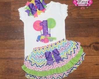 Candy Land First Second Ruffled Bloomers or Skirt Outfit with matching bow