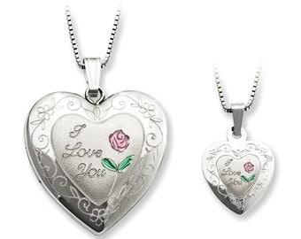 Sterling Silver Rose I Love You Heart Locket & Pendant Necklace