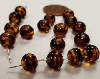 100 Vintage Japanese 1950's Cherry Brand Glass Tortoise 8mm. Round Beads 4667