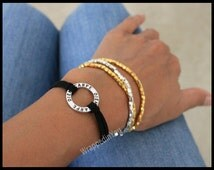 CARPE Diem Bracelet - Adjustable Silver Infinity Circle Charm Gift -Seize the Day Faux Suede Circle Cord Charm Jewelry For Her - Usa sc
