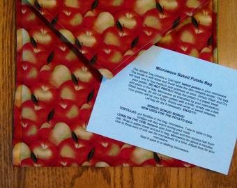 "Handmade - Microwave Potato Baker Bag/Hot Pad ""Apples"" Print."