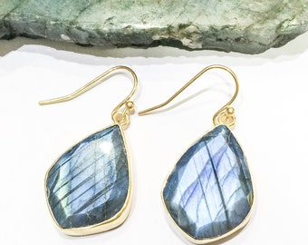 Labradorite Diamond Shape Earrings