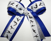 Gymnastics Bow Glitter Royal Blue Silver Ribbons Girls Hair Accessories Ties Elastics Dance Lyrical School US Team Spirit Bulk Wholesale Lot
