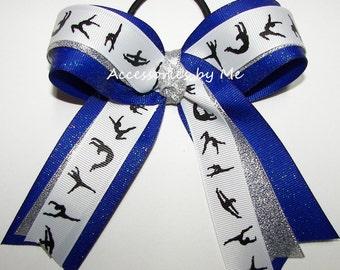 Gymnastics Bow, Sparkly Royal Blue Silver Ribbons, Girls Hair Ponytail Ties Elastics, Dance Lyrical School US Team Spirit Bulk Wholesale Lot