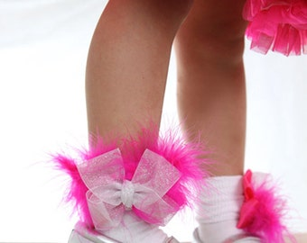 Glitz Pageant Socks, Sparkle Trim Socks, White Organza Hot Pink Marabou Feather Socks, Girls Toddler 1st Birthday, Wedding Occasions Socks