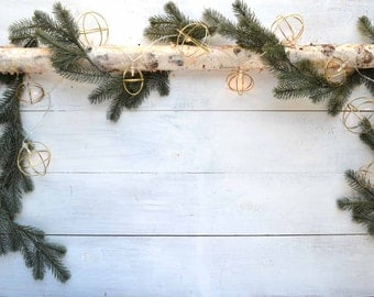 Gold Christmas Lights - Round Wire White Lights - Battery Operated Lights, Mantel Lights, Mantel Decor, Gold Christmas Light String
