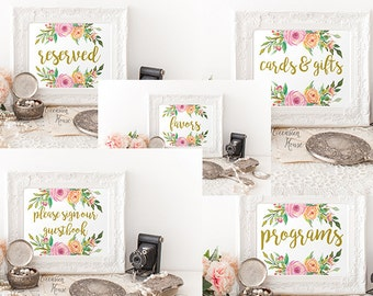 Printable Floral Gold Wedding Signs Bundle, 5x7, Reserved Sign, Please Sign our guestbook sign, Card and gifts, programs, Favors, B1B WB13